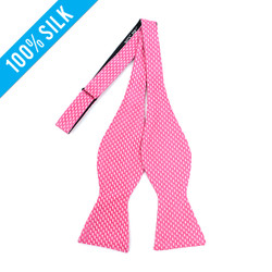 Silk Woven Geometric Hot Pink Freestyle Bow Tie FBS3422