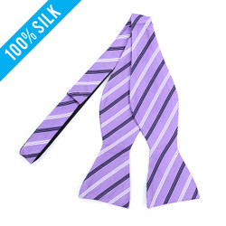 Silk Woven Striped Freestyle Bow Tie FBS3601