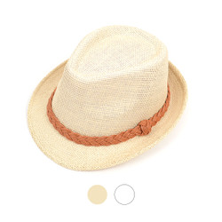 Spring/Summer Fedora Hat with Leather Trim H8760