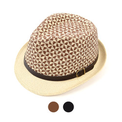 6pcs Two Sizes Spring/Summer Two-Tone Woven Fedora Hat with Leather Trim H9271