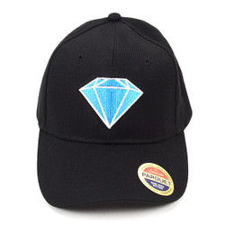 Blue Diamond Black Embroidered Baseball Cap