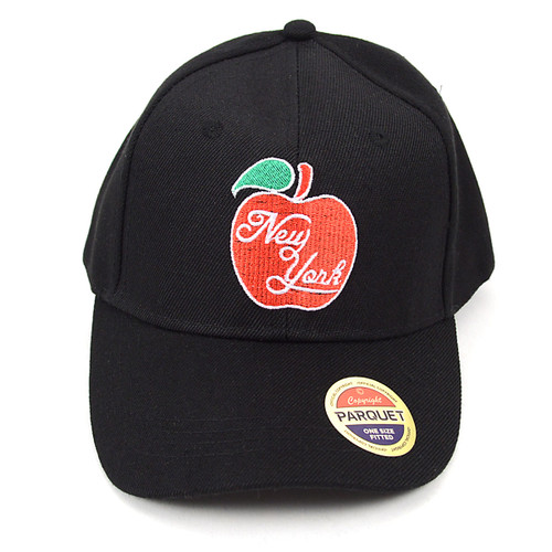 NEW YORK Red Apple Black Embroidered Baseball Cap
