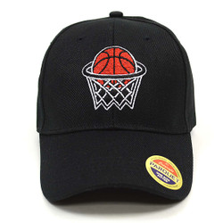 Basketball Hoop Black Embroidered Baseball Cap (BCC121715BKB)