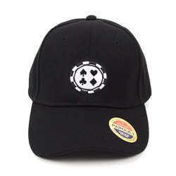 Four Card Suits Black Embroidered Baseball Cap (BCC121615GMB)