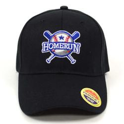 Homerun Black Embroidered Baseball Cap (BCC121715BSB)