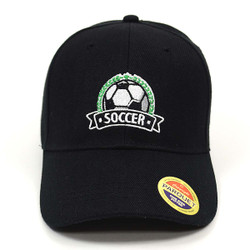 Soccer Black Embroidered Baseball Cap (BCC121615SCR)