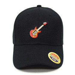Guitar Black Embroidered Baseball Cap (BCC121415GR)