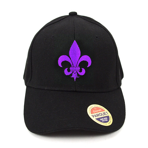 Purple Fleur-de-lis Black Embroidered Baseball Cap (BCC010516FLB2)