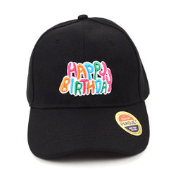 Happy Birthday Black Embroidered Baseball Cap (BCC123015BD)