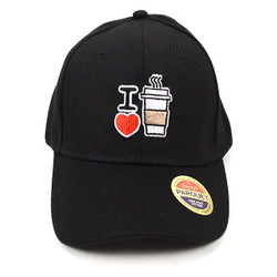 I Love Coffee Black Embroidered Baseball Cap (BCC123015CFE)
