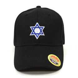 Jewish Star of David Black Embroidered Baseball Cap (BCC121415SOD)