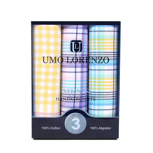 Men's 3pc. Boxed Fancy Cotton Handkerchiefs MFB1563