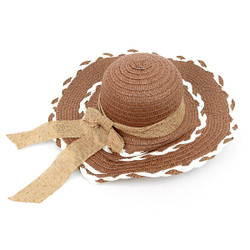 "Women's 4.25"" Brim Brown Bow Floppy Hat H10325"