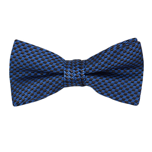 """Boy's 2"""" Navy Blue Dotted Polyester Woven Banded Bow Tie FBB1"""