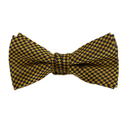 "Boy's 2"" Gold & Navy Dotted Polyester Woven Banded Bow Tie FBB8"