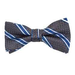 "Boy's 2"" Gray & Blue Striped Polyester Woven Banded Bow Tie FBB10"