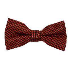 "Boy's 2"" Red & Black Dotted Polyester Woven Banded Bow Tie FBB13"