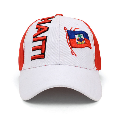 Haiti Flag Red & White BasHaiti Flag Red & White 3D Embroidered Baseball Cap, Hat EBC10303eball Cap EBC10303