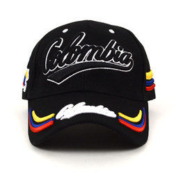 Colombia Black 3D Embroidered Baseball Cap, Hat EBC10306