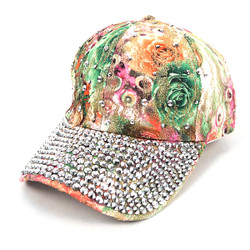 Bling Studs Green Flower Baseball Cap CFP9588G