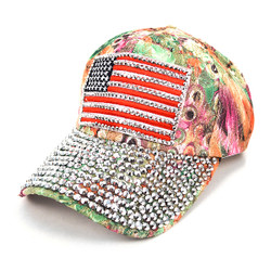American Flag Bling Studs Green Flower Baseball Cap CFP10173G