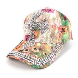 Cross Bling Studs Green Flower Baseball Cap CFP10181G