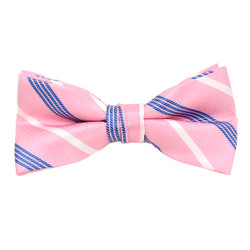 "Boy's 2"" Pink & blue Striped Polyester Woven Banded Bow Tie FBB21"