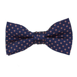 "Boy's 2"" Navy & Pink Dotted Polyester Woven Banded Bow Tie FBB22"