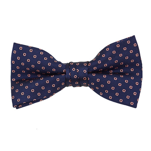 """Boy's 2"""" Navy & Pink Dotted Polyester Woven Banded Bow Tie FBB22"""