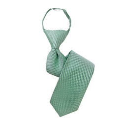 Boy's Green Geometric/Polka Dot Zipper Tie - MPWZ3303-GR1-14