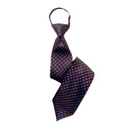 Boy's Brown  Plaid Zipper Tie - MPWZ3303-BR3-17