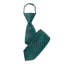"Boy's 17"" Plaid Hunter Green Zipper Tie"