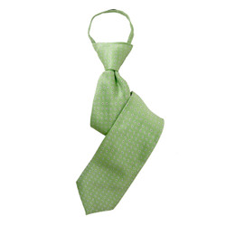 Boy's Lime  Geometric/Polka Dot Zipper Tie - MPWZ3303-GR8-17