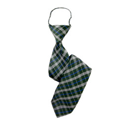 "Boy's 17"" Plaid Sage Zipper Tie"