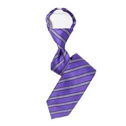 Boy's Purple Striped Zipper Tie - MPWZ3303-PR10-14