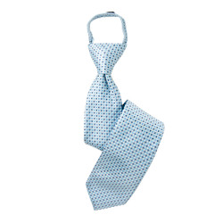 Boy's Baby Blue Geometric/Polka Dot  Zipper Tie - MPWZ3303-TQ6-17