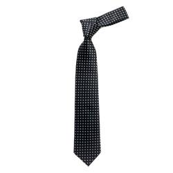 Boy's Black Geometric/Polka Dot Micro Fiber Poly Woven Tie - MPWB3303-BK14