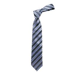 Boy's Black Stripes Micro Fiber Poly Woven Tie - MPWB3303-BK18