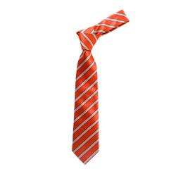 Boy's Orange Stripes Micro Fiber Poly Woven Tie - MPWB3303-OR6