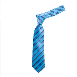 Boy's  Turquoise Bold Stripes Micro Fiber Poly Woven Tie - MPWB3303-TQ1