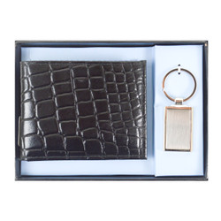 Genuine Leather Croco Print Wallet & Keychain Sets WKC1000-BK