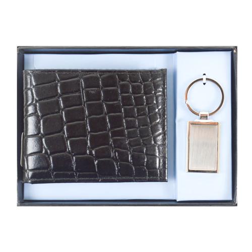 Genuine Leather Croco Print Wallet & Keychain Sets WKC1000-BK