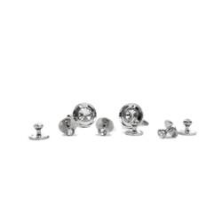 Silver-tone Brass Cufflinks & 6 Stud Set CSS1707