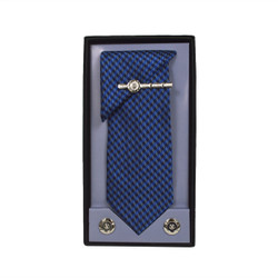 Blue Micro Poly Woven Tie, Matching Hanky, Cufflinks & Tie Bar Set PWTHBL1BX