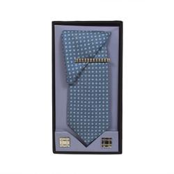Blue Micro Poly Woven Tie, Matching Hanky, Cufflinks & Tie Bar Set PWTHBL9BX