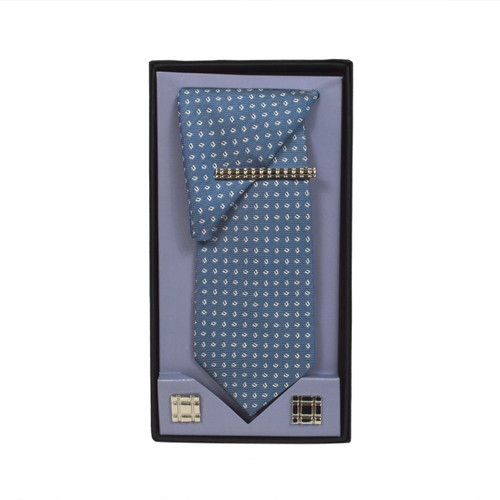 Blue Micro Poly Woven Tie, Matching Hanky, Cufflinks & Tie Bar Set PWTHBL9BX