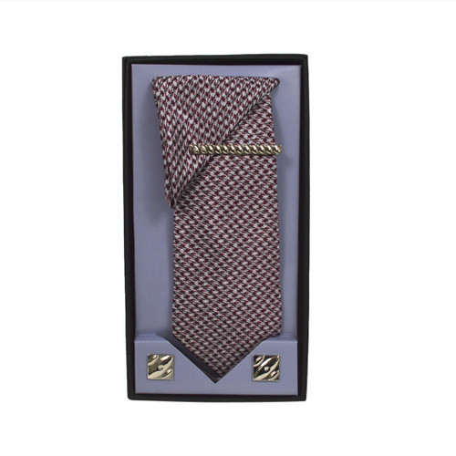 Red Micro Poly Woven Tie, Matching Hanky, Cufflinks & Tie Bar Set PWTHRD5BX