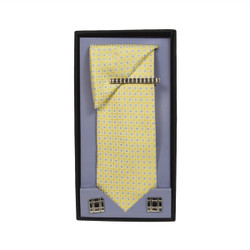 Yellow Micro Poly Woven Tie, Matching Hanky, Cufflinks & Tie Bar Set PWTHYW8BX