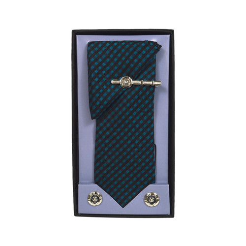 Green Micro Poly Woven Tie, Matching Hanky, Cufflinks & Tie Bar Set PWTHGN10BX