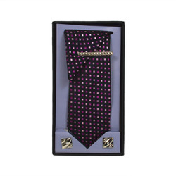 Purple Micro Poly Woven Tie, Matching Hanky, Cufflinks & Tie Bar Set PWTHPU5BX